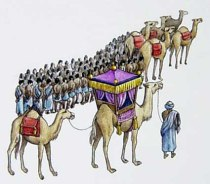 An artistic rendition of Mansa Musa's pilgrimage
