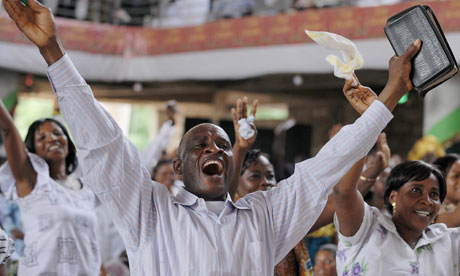 The congregation of a church in Ghana