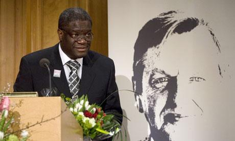 Dr Denis Mukwege receiving the Olof Palme Prize at the Swedish parliament in Stockholm. Photograph: Fredrik Sandberg/AFP/Getty Images