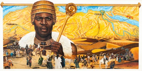 An artistic rendition of Mansa Musa of Mali