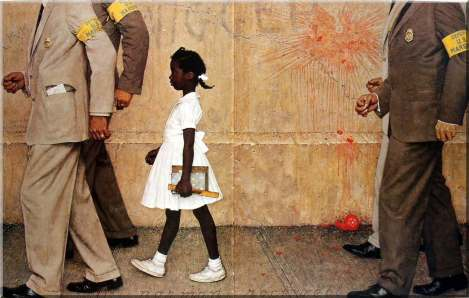 This famous 1964 painting, The Problem We All Live, by Norman Rockwell has become an iconic image of the civil rights movement. It depicts Ruby Bridges, a six-year-old African-American girl, on her way in to an all-white public school in New Orleans on November 14, 1960 during the process of racial desegregation. Because of threats and violence against her, she is escorted by four U.S. Deputy Marshals.