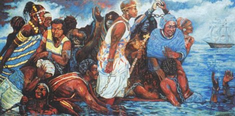 A depiction of Ebo Landing by American visual artist Dee Williams - 4' x 8' Oil on wood
