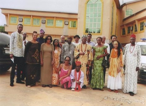The 10 participants pose with Eze Chukuwemeka Eri in Aguleri, Anambra State Nigeria