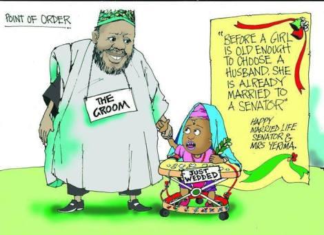 A political cartoon depicts Nigerian Senator Ahmed Sani Yerima marrying a young girl