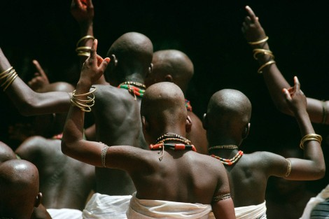 BENIN, PORTO NOVO.  Ceremony ending initiation to the god Loko in March 1998. Picture by Jean-Claude Coutausse