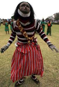 A dancer in Zambia in a ritual performance