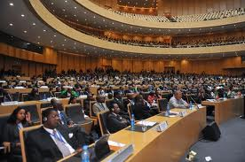 Officials attend the opening session of the African Union summit on Sunday (July 15th) in Addis Ababa. African leaders at the summit praised successes against al-Shabaab in Somalia. [Simon Maina/AFP]