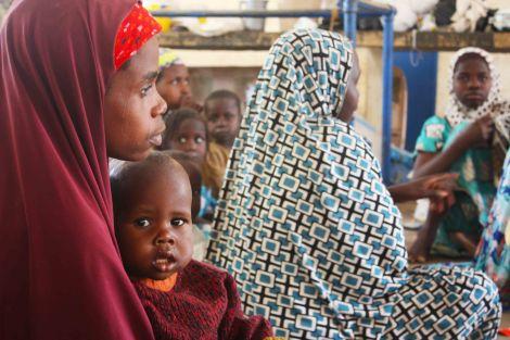 Bintu Tijjani lives at a camp in Maiduguri after Boko Haram shot her husband dead in Bama. Maiduguri, Nigeria. Photo by Chika Oduah. December 2014