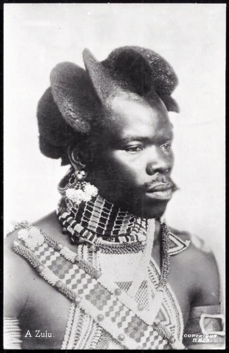 Zulu man with an elaborate hairdo