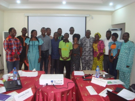 "(Left to Right: Temitope Shaba of IWPR, Yakeem Akinwale Nurudeen, ""The Scribe"", Chinedu Ekeja, Nnodim Okechukwu Victor, John Ogunsemore, Olajide Ademola, Nura Bashir Faggo, Dayo Aiyetan, Chika Oduah, Yemi Kosoko, Elizabeth Kah, Samuel Malik, Hannah Ojo, Musikilu Mojeed)"