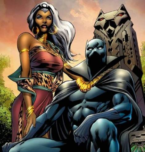 Storm and Black Panther, a powerful superhero couple, who later divorced.