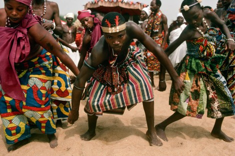 BENIN, GRAND POPO. Annual meeting of voodoo cult followers in January 1998. Photo by Jean-Claude Coutausee