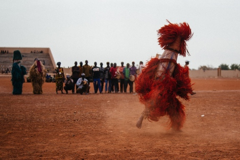 Unknown mask in the Regional Stadium of Dedougou. Photo by Jacob Balzani Loov