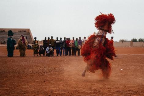 Unknown mask in the Regional Stadium of Dedougou. Photo by Jacob Balzani Loov