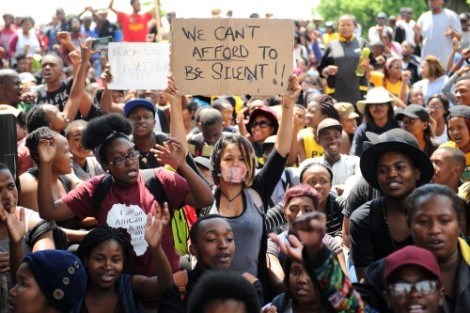 A protest at a university in South Africa