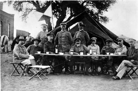the Oberbefehlshaber (Supreme Commander) of the protection force in German South-West Africa, in Keetmanshoop during the Herero uprising, 1904. Zentralbild Generalleutnant Lothar von Trotha, der Oberfehlshaber der Schutztruppe in Deutsch-Südwestafrika, mit seinem Stabe in Keetmanshoop während des Herero-Aufstandes 1904. 8932-05 Source: Wikipedia