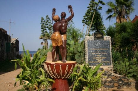 A statue at the Maison des Esclaves (House of Slaves) Memorial on Goree Island